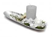 dekorácia strieborno biela vianočná