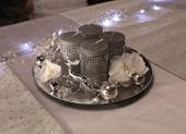 strieborné vianočné sviečky