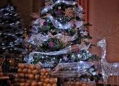 modré vianočné gule